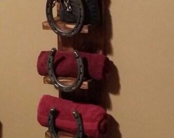 Rustic bath shelf, Home Decor, Rustic, horseshoe shelf,  towel shelf,Hall Shelf, country western decor, wood shelf, Rustic Home Decor