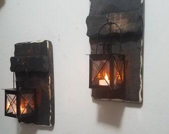 Rustic Home Decor, Farmhouse decor,  Mini sconces, Mini Lanterns, Rustic Decor, Country Decor, 10 x 5 Lantern Holders
