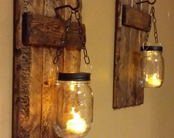 Wood Sconce, Rustic Home  Decor,  Rustic candle holder, Rustic Lantern, Mason Jar wood candle,  Candle holder  priced 1 each