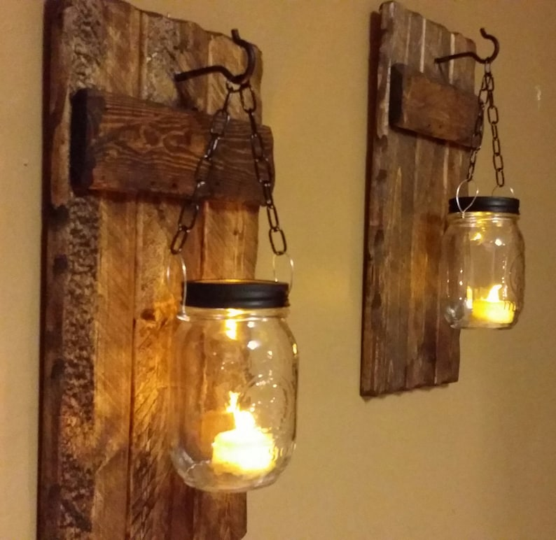 Wood Sconce Rustic Home  Decor  Rustic candle holder Rustic image 0