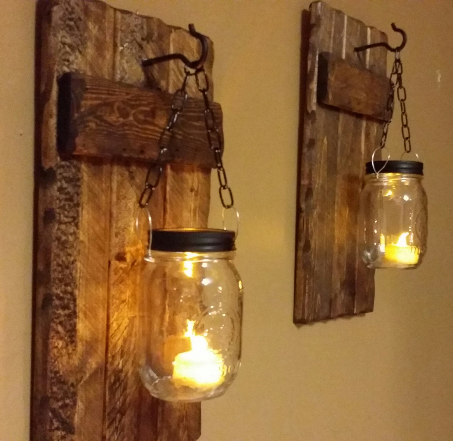 Wood Sconce Rustic Home Decor Rustic candle holder Rustic ...