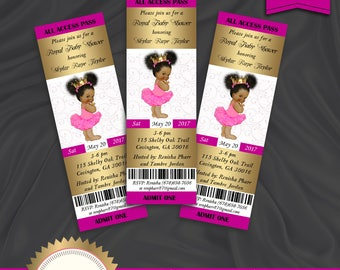 Girl baby shower invitation tutu ballerina invitation baby etsy princess baby shower invitation royal baby shower invitation baby girl african american hot pink gold printable digital file filmwisefo
