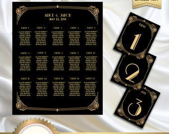 Table Number Signs  Deco Scallop  Black /& Gold or Silver  Wedding  Art Deco Great Gatsby 1920s  4x6 Paper Sign