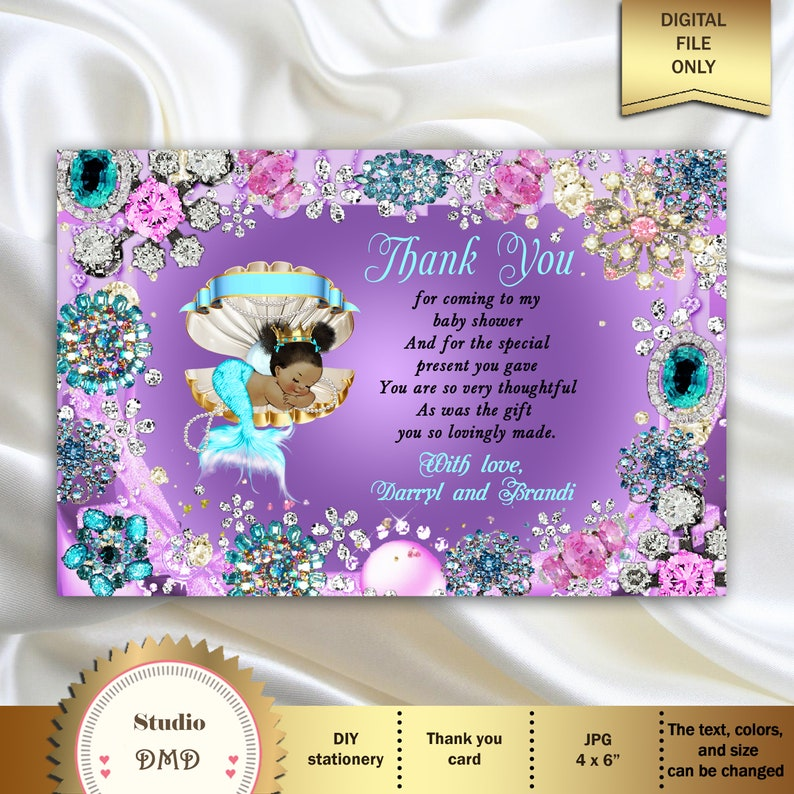Printable Baby Shower Thank You Card Little Mermaid Baby Etsy