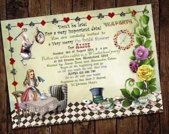 Alice in Wonderland Bridal Shower Invitation< Wonderland Wedding, Mad Hatter Tea Party - Printable DIY