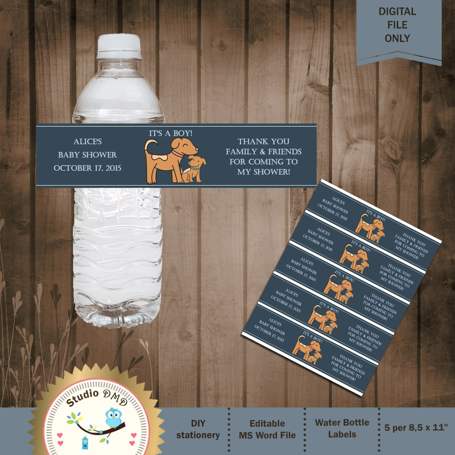 Dogs Baby Shower Water Bottle Labels Baby Dog Shower Ideas Etsy