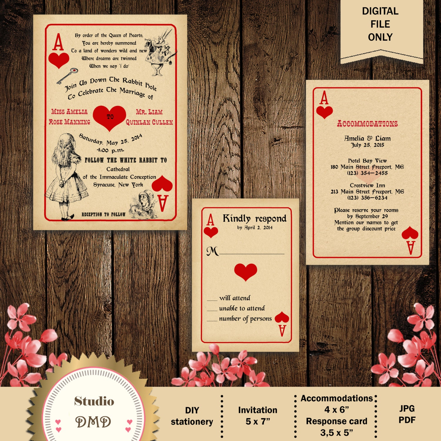Alice And Wonderland Wedding Invitations: Printable Alice In Wonderland Wedding Invitation Mad