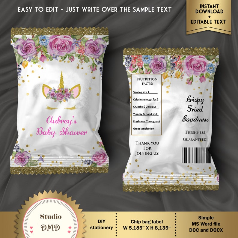 Baby Girl Unicorn Party DOWNLOAD Instantly Unicorn Baby Shower EDITABLE text in Word Printable Chip Bag Wrapper Labels BS42