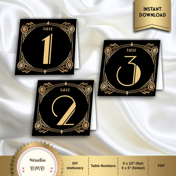 Great Gatsby Art Deco Table Cards 1 60 Table Numbers Table Decoration 1920 S 20 S Style Black And Gold Instant Download Gg02