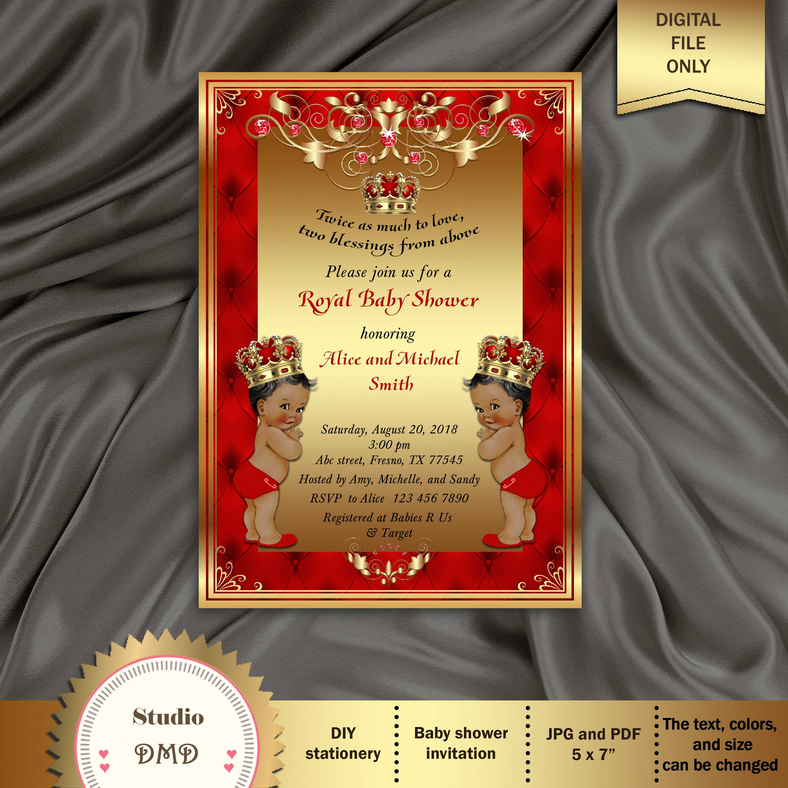 Printable Twin Boys Baby Shower Invitation Royal Baby