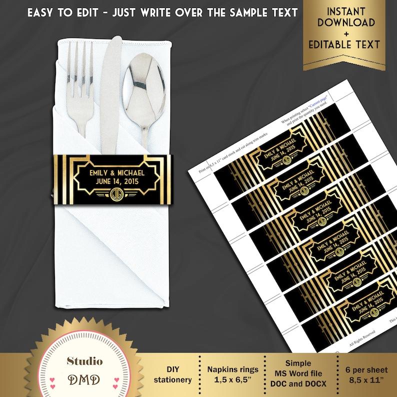 Terrific Printable Great Gatsby Style Art Deco Napkin Rings Wedding Birdal Shower Download Instantly Editable Text Microsoft Word Format Gg01 Interior Design Ideas Gresisoteloinfo