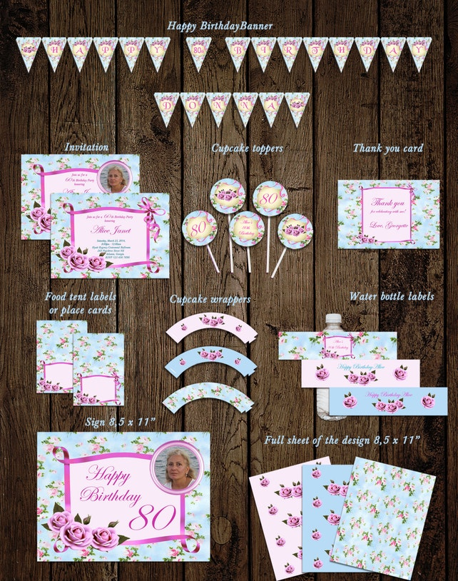 Shabby Chic Roses And Ribbon Womens Birthday Party Decoration