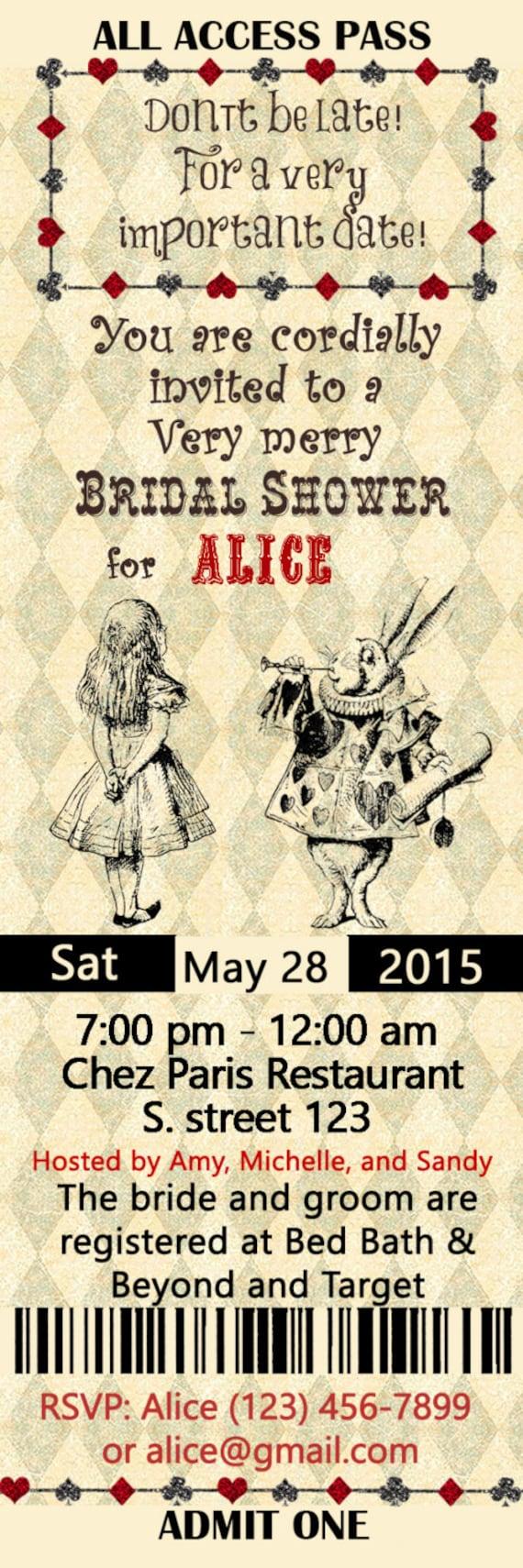 Alice in Wonderland Bridal Shower Invitation Ticket style | Etsy