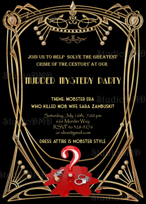 Murder Mystery Great Gatsby Inspired Party Invitation Black Etsy