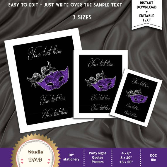 Poster WB06 EDITABLE TEXT in Microsoft Word Printable Masquerade Ball Signs Template Birthday Party Signs DOWNLOAD Instantly Quote
