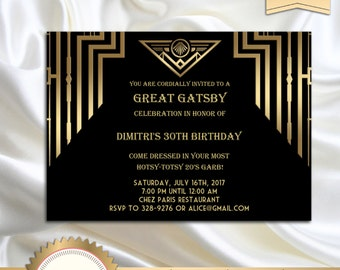 Great Gatsby Style Art Deco Birthday Party Invitation, 30th 40th 50th 60th 70th 80th 90th - DOWNLOAD Instantly, EDITABLE TEXT in Word, GG01