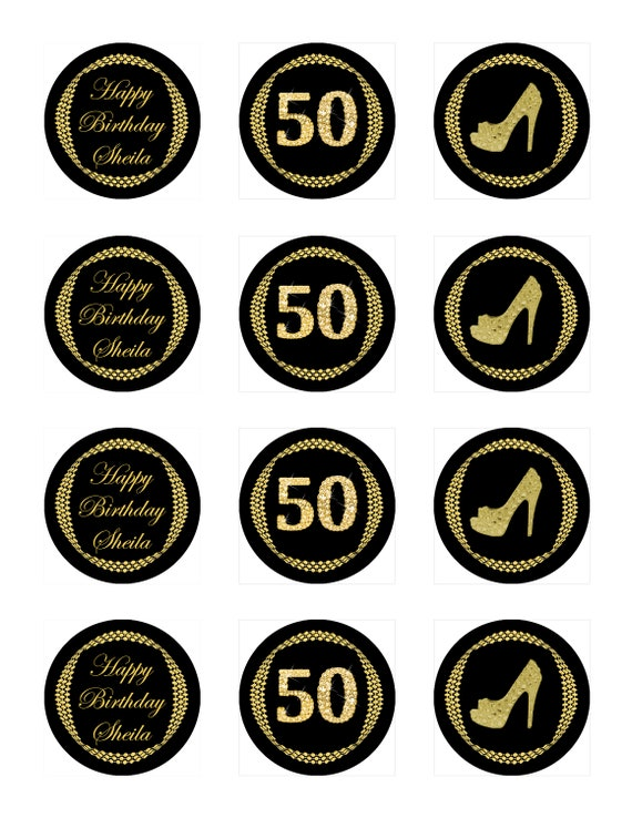 Elegant Pink and Dark Grey Cupcake Toppers Printable Labels Stickers for Birthday Party \u2013 Digital file Milestone Crystal Shoe
