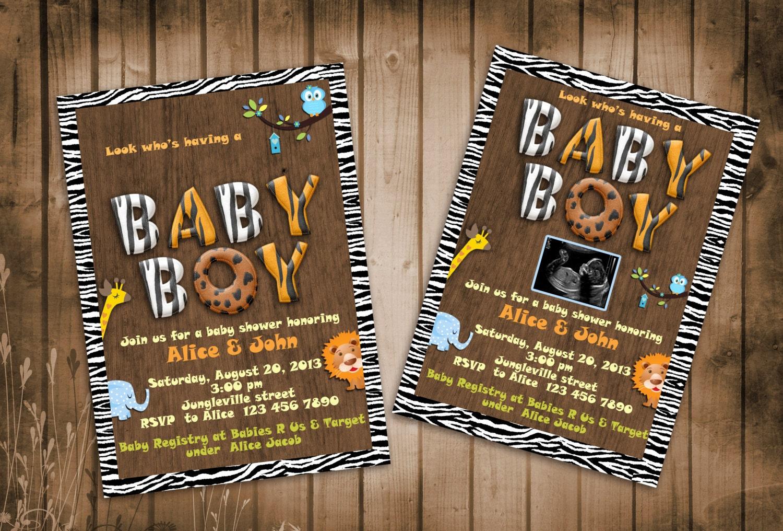 Jungle Animals Safari Baby Shower Invitation with Zebra Frame | Etsy