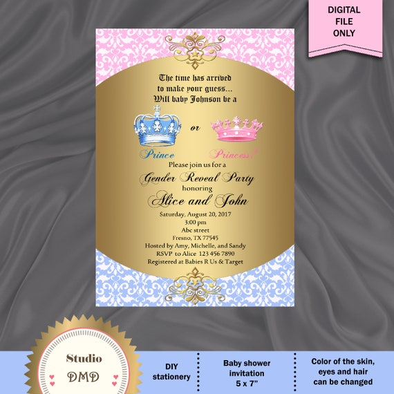 picture regarding Printable Gender Reveal Invitations titled Printable Gender Demonstrate Invitation, Kid Describe Invitation, Prince or Princess, Boy Or Woman Invite, Is It A Boy Or Woman - Electronic Document, Do-it-yourself