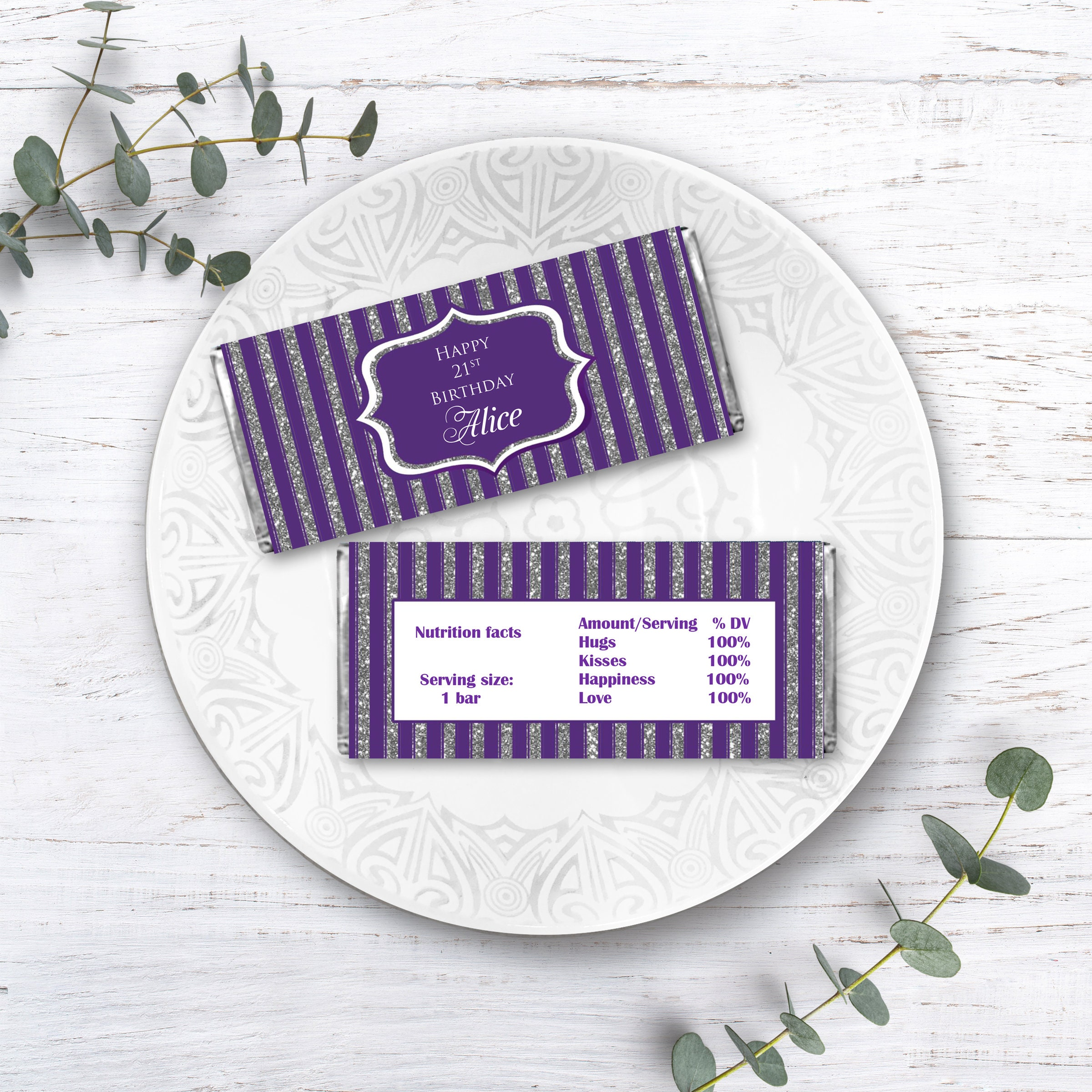 Printable Candy Bar Wrappers Elegant Purple and Silver  Etsy Intended For Candy Bar Wrapper Template Microsoft Word