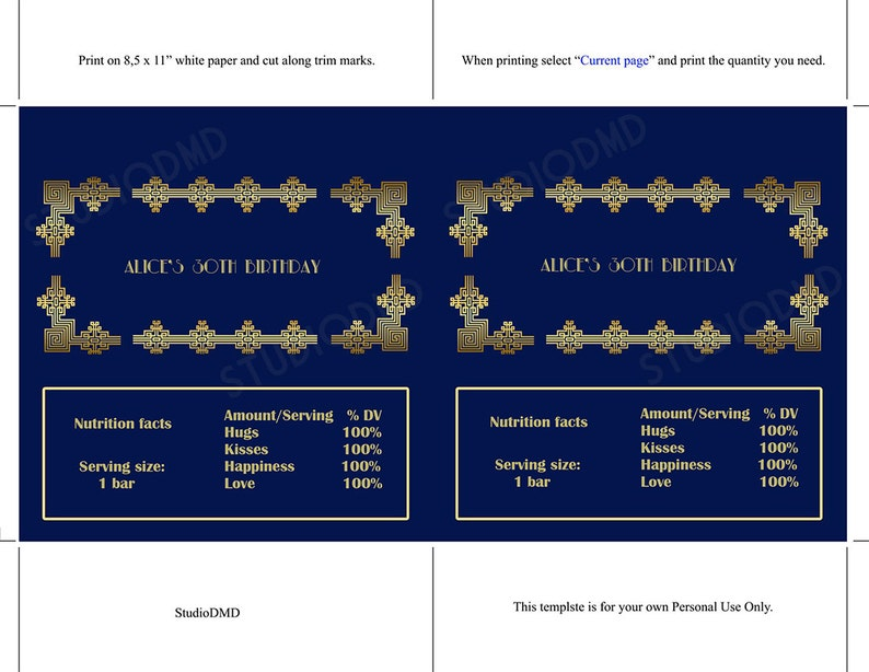 EDITABLE text Navy Blue and Gold Great Gatsby Art Deco Candy Bar Wrapper DOWNLOAD Instantly Microsoft\u00ae Word Format
