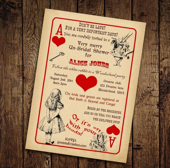 Alice In Wonderland Bridal Shower Invitation Vintage Playing