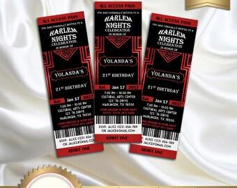 Harlem Nights Birthday Party Invitation, Great Gatsby Style Art Deco, 21st 30th 40th 50th 60th 70th 80th Birthday - Printable DIY