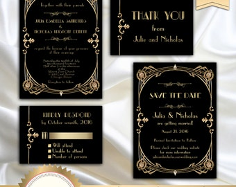 Great Gatsby Style Art Deco Wedding Invitation Suite, Art Deco Theme, 1920's, 20's Style, Roaring Twenties, Black and Gold - Printable, GG02