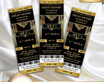 Great Gatsby Style Art Deco Party Invitation, Black and Gold, Prom, Birthday -DOWNLOAD Instantly, EDITABLE TEXT, Microsoft Word Format, GG01