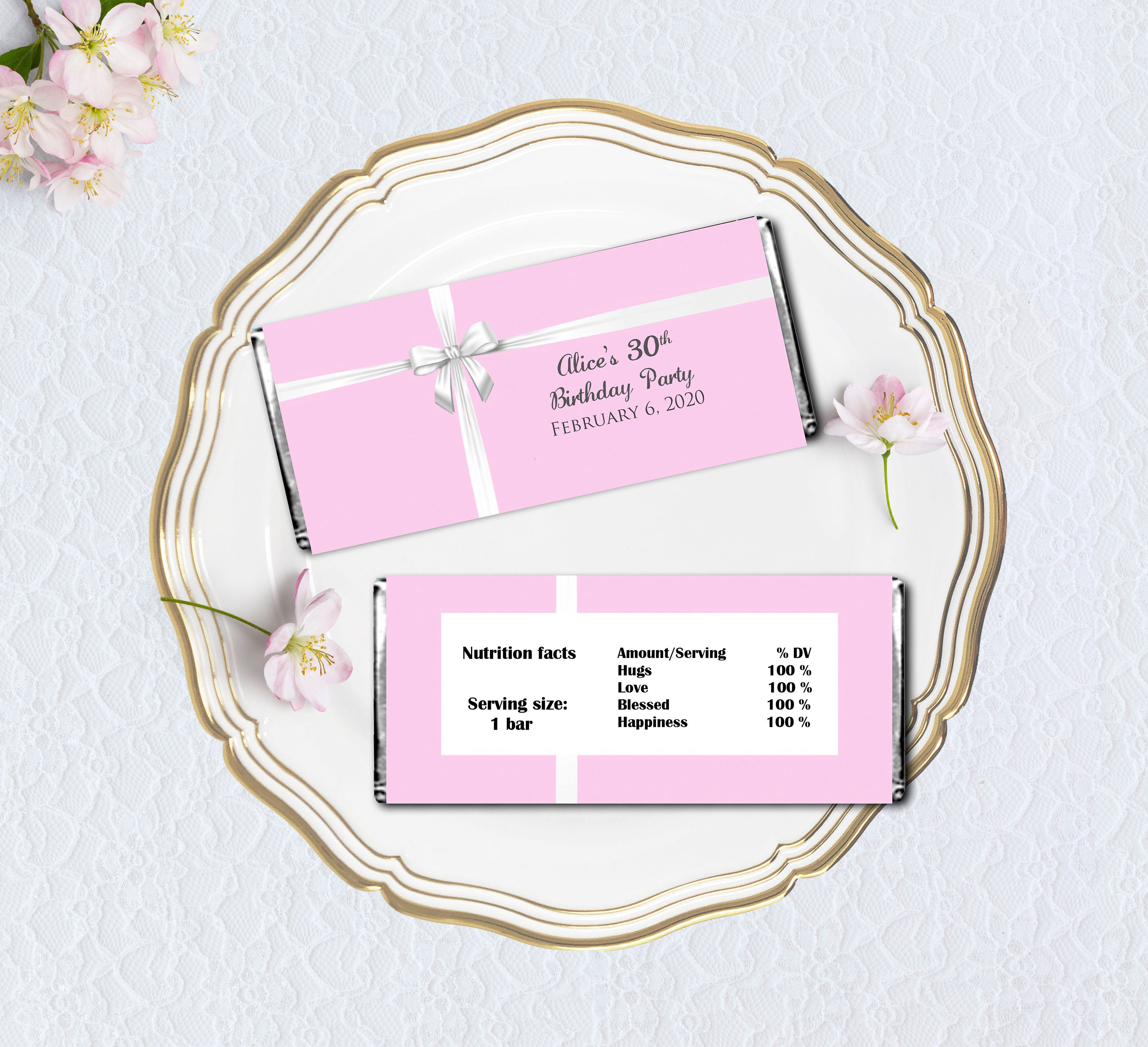 Printable Candy Bar Wrapper, Pink with White Ribbon Hershey