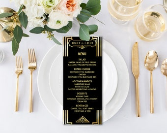 Printable Menu Card Template, Great Gatsby Style Art Deco Black and Gold, Wedding, Prom, Birthday - DOWNLOAD Instantly - EDITABLE TEXT, GG01