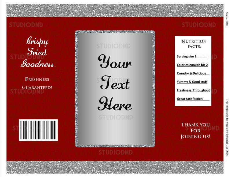 WB12 EDITABLE text Anniversary Gala Night Prom DOWNLOAD Instantly Birthday Party Baby Shower Red and Silver Chip Bag Wrapper Labels