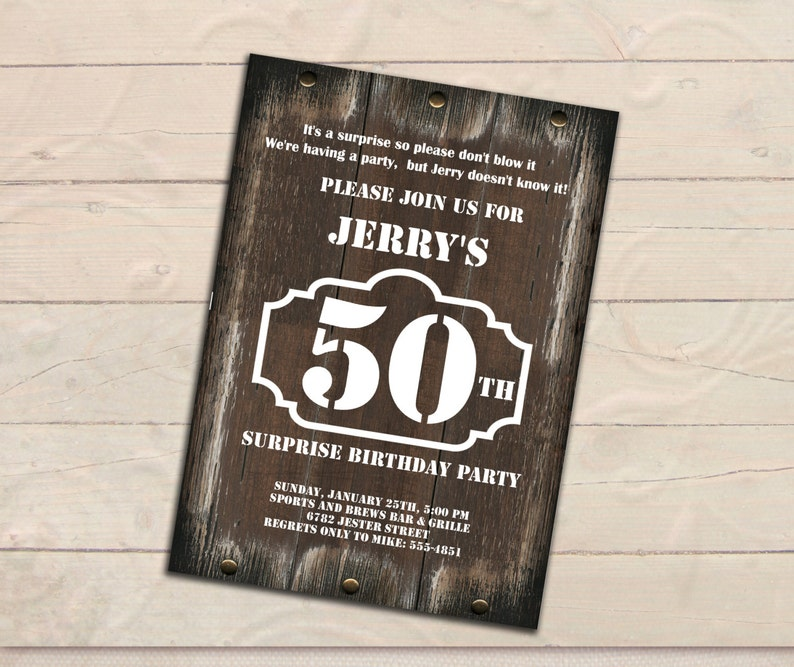 Surprise 50th Birthday Invitation Men Rustic