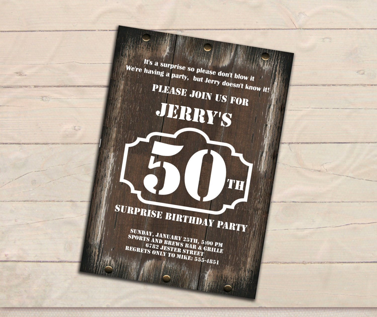 surprise 50th birthday invitation men invitation rustic
