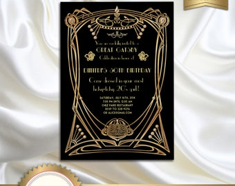 Great Gatsby Style Art Deco Birthday Party Invitation - Black and Gold - DOWNLOAD Instantly - EDITABLE TEXT - Microsoft® Word Format, GG02