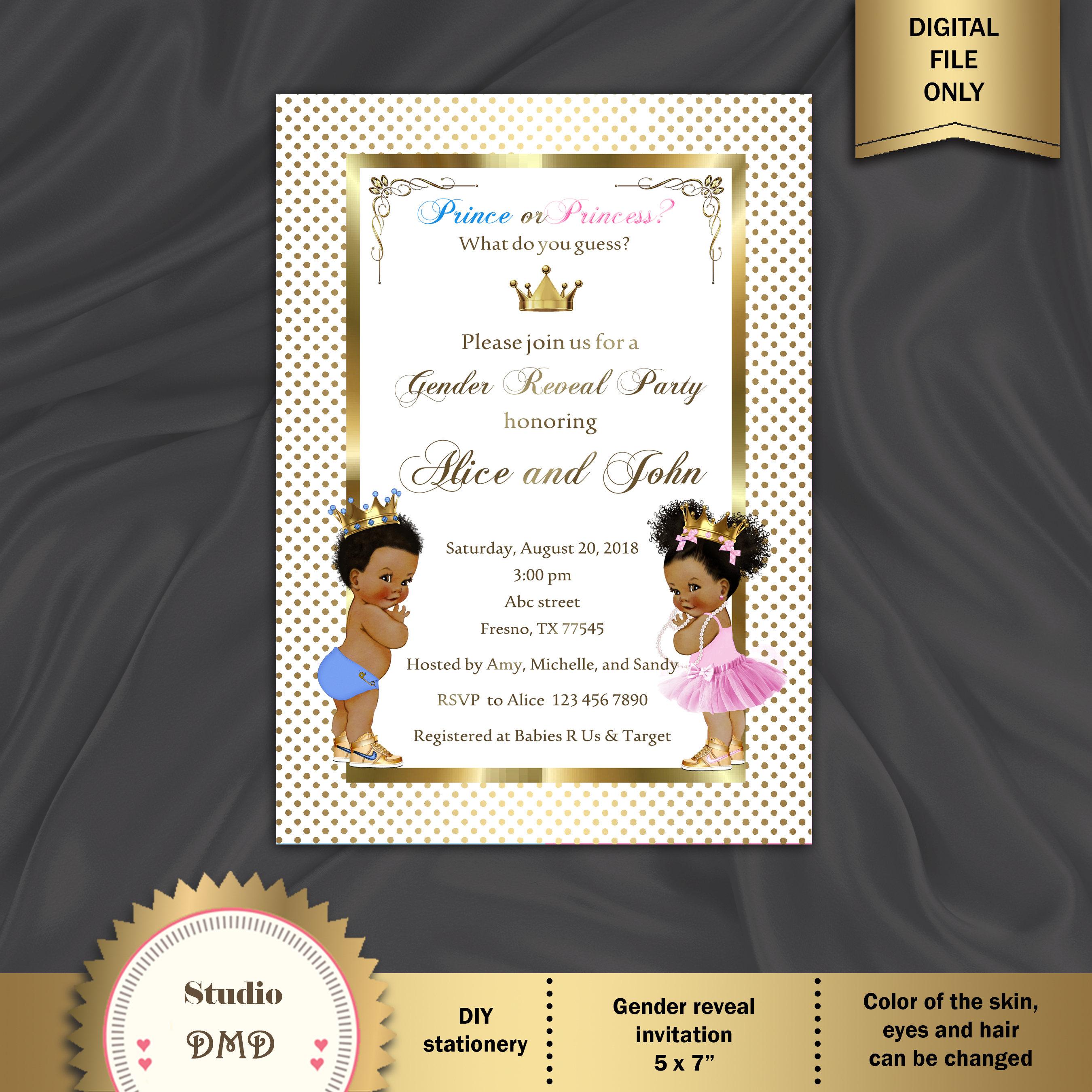 printable gender reveal invitation baby reveal invitation etsy