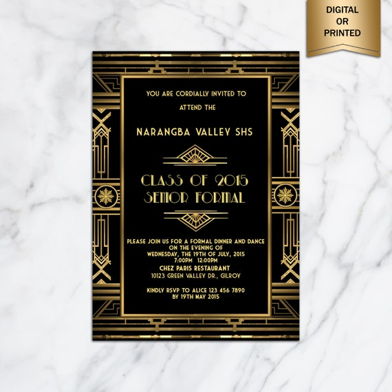 Great Gatsby Style Art Deco Prom Invitation, 1920's, 20's Style, Roaring Twenties, Black and Gold Digital or Printed