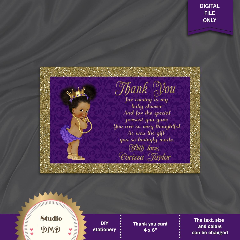 Printable Baby Shower Thank You Card Little Princess Royal
