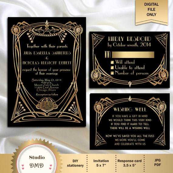 Sample Wedding Invitation Set SuiteBlack Gold Gatsby 1920s 20s RSVP Art Deco
