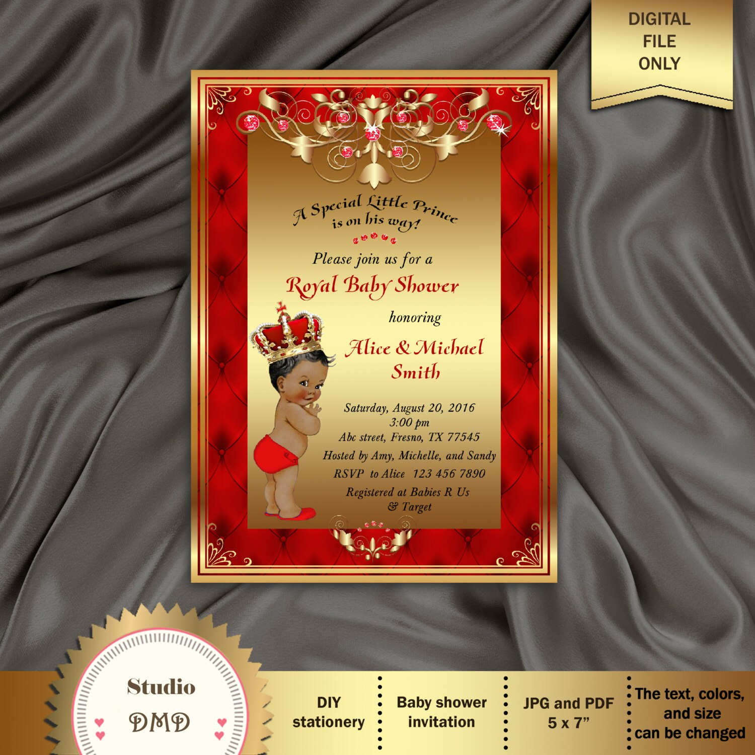 Printable Royal Baby Shower Invitation Regal Red Gold Card | Etsy