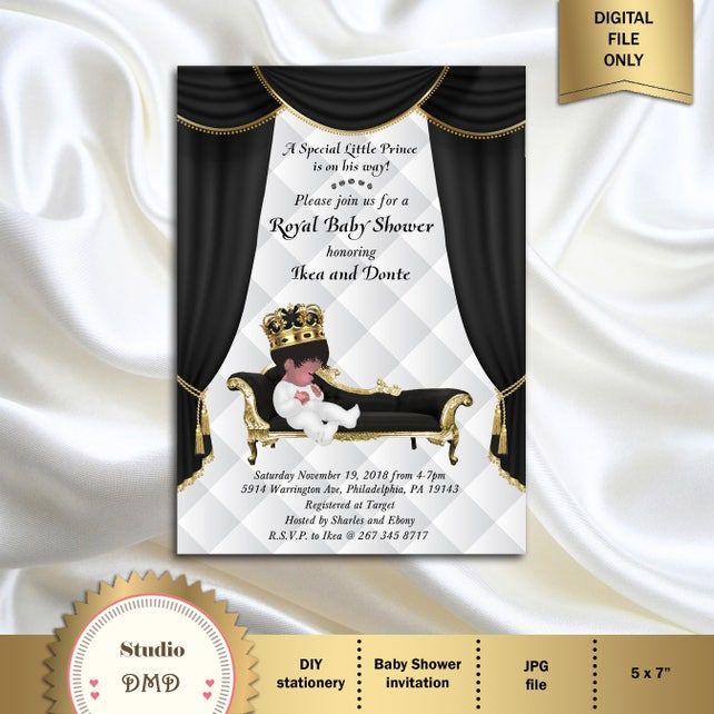 Prince Baby Shower Invitation Little Prince Royal Baby Shower