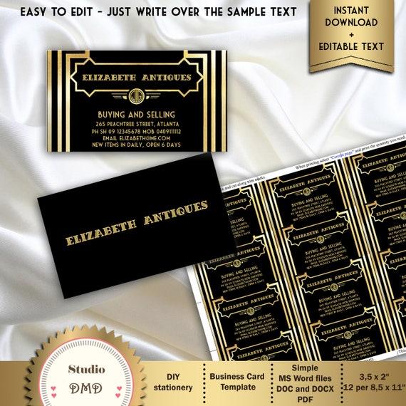 Druckbare Visitenkarte Art Deco Große Gatsby Inspiriert Schwarz Und Gold Elegante Visitenkarte Editierbaren Text Microsoft Word Format Gg01