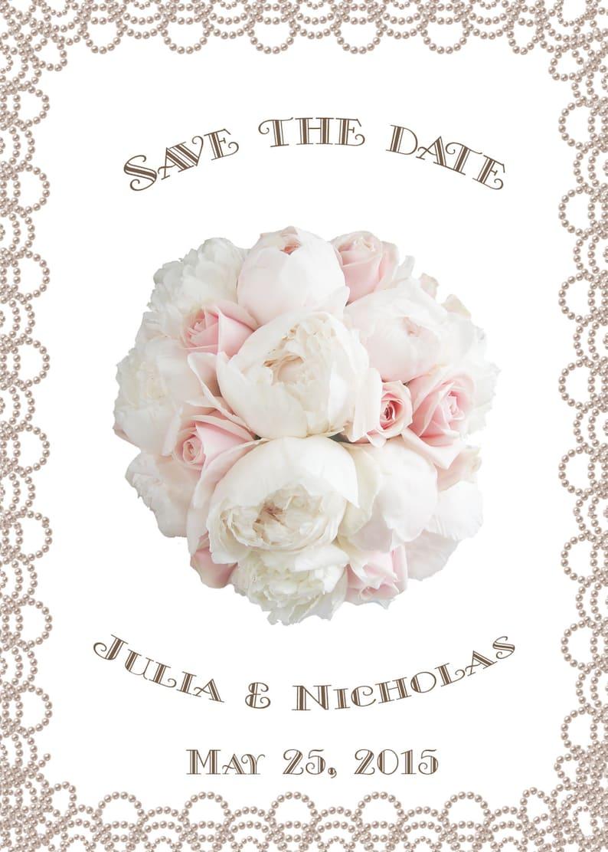 White Peonies and Pearls Digital file Printable Wedding Invitation Suite Bridal Bouquet Blush Pink Roses DIY