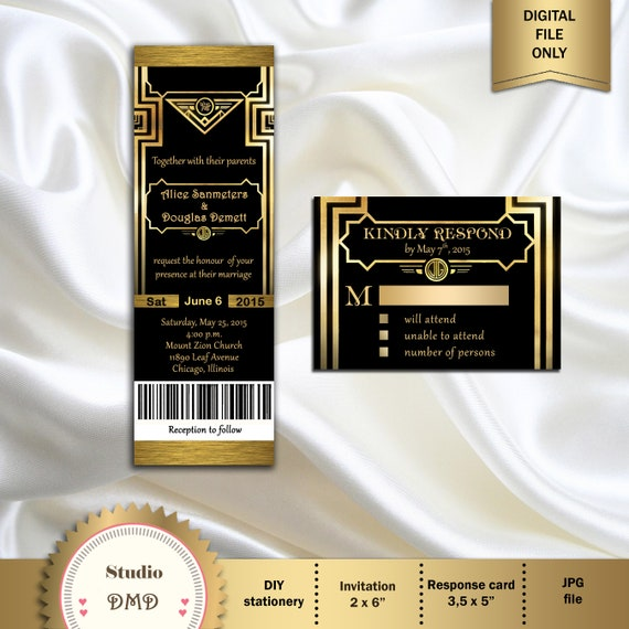 Vintage Deco style personalised wedding invitations,RSVPS,Save the dates,Gatsby