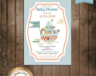 Noah's Ark Baby Shower Invitation, Boy Baby Shower Invitation, Noah's Ark Invitation, It's a Boy - Printable, Digital file