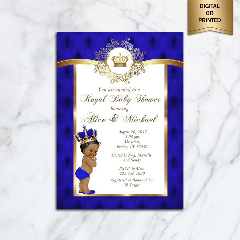 picture relating to Free Printable Prince Baby Shower Invitations identified as Prince Boy or girl Shower Invitation, Minimal Prince, Royal Little one Boy Invitation, African American, Royal Blue Gold - Released Or Electronic document, BBS01