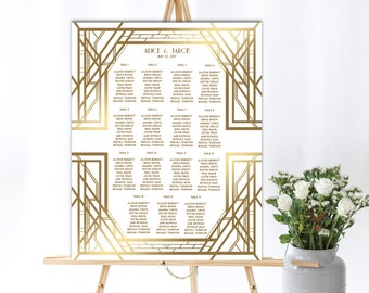 Printable Wedding Guest Seating Chart, Seating List,  Art Deco Seating Chart, Great Gatsby Inspired Wedding Collection, White and Gold, GG06