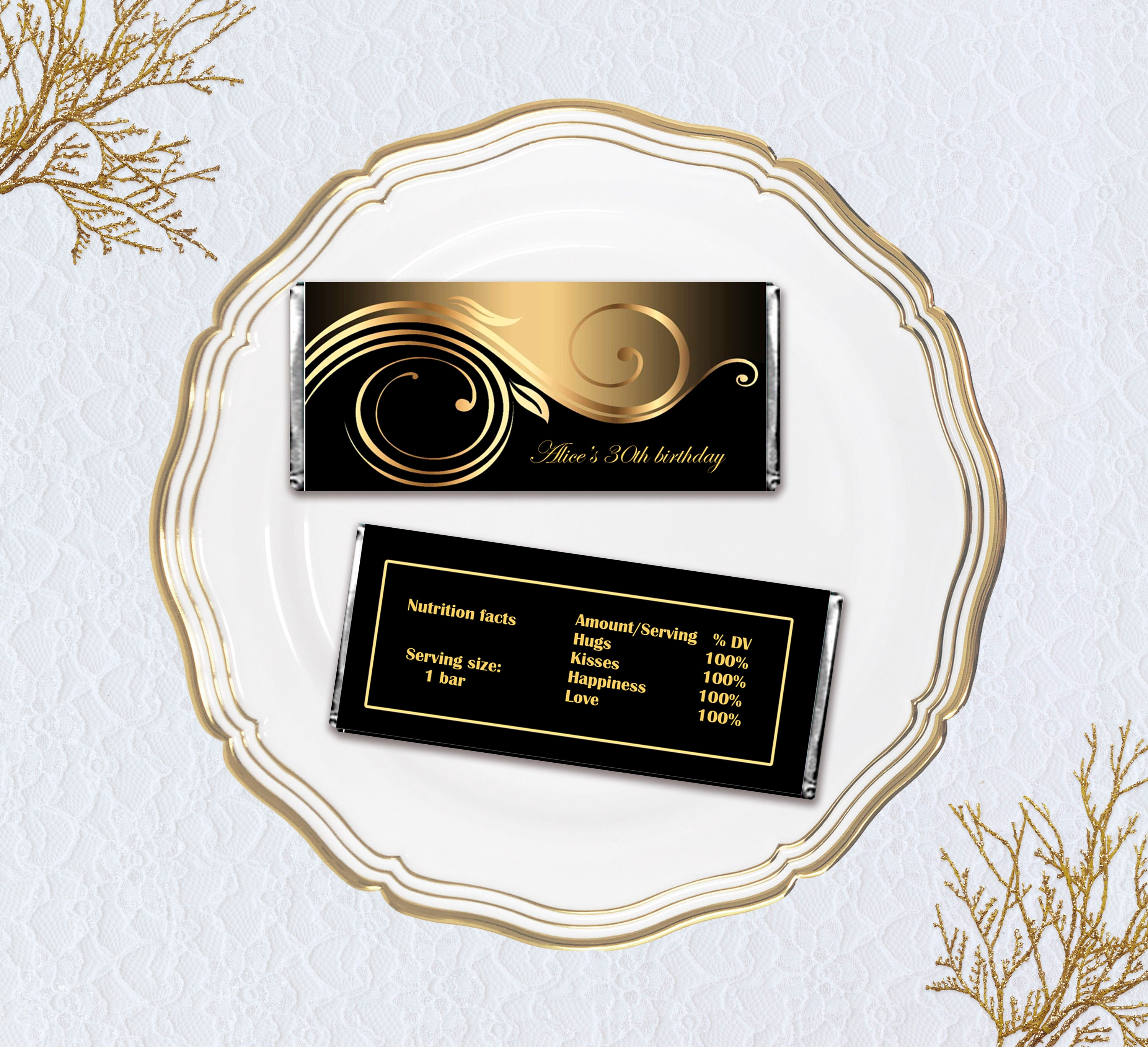 Printable Candy Bar Wrappers Elegant Black and Gold Digital  Etsy Pertaining To Candy Bar Wrapper Template Microsoft Word