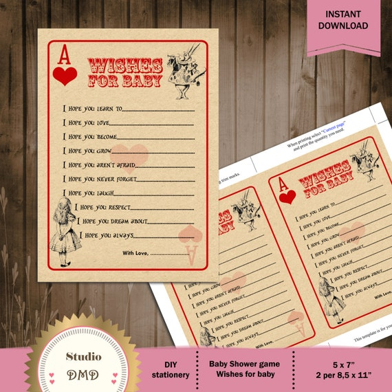 Printable Baby Shower Game Card Template Wishes For Baby Etsy