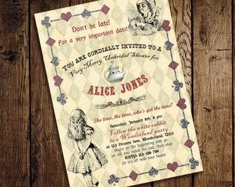 Alice in Wonderland Mad Hatter Bridal Shower Tea Party Invitation - for Birthday, Baby Shower, Bridal shower Tea Party - Printable DIY